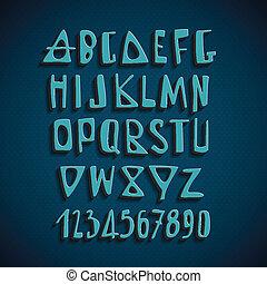 信件, 字母表, 手, 矢量, 英語, 畫