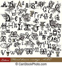 信件, 字母表, 集合, 葡萄酒, 英語, 漩渦, 手, 畫