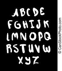 信件, set., alphabet., 手, 畫