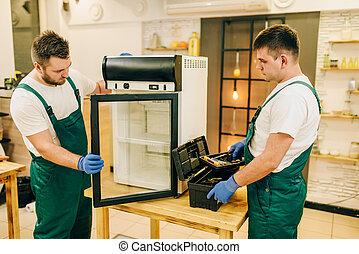 修理工人, 二, 制服, 家, 冰箱
