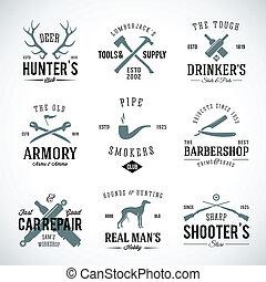 修理, 人` s, 打獵, 葡萄酒, 標籤, 狗, 印刷術, 等等, 集合, 武器, 愛好, 這樣, 繁殖, 汽車, retro