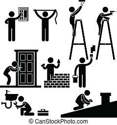 修理, 固定, 符號, 做零活的人