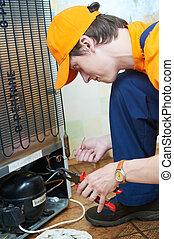 修理, 工作, 用具, 冰箱