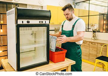 修理, 工具箱, 工人, 冰箱, 家