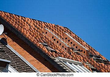 修理, 建造工作, 或者, 屋頂