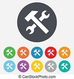 修理, 服務, 工具, 符號。, 簽署, icon.