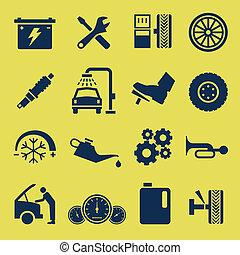 修理, 服務, 汽車, 符號, 汽車, 圖象