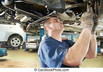修理, 汽車, 工作, 技工, 汽車, 懸挂