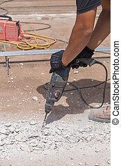修理, 混凝土, 工人, 操練, 路