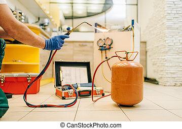 修理, 燃燒器, 人, 手, 男性, 冰箱