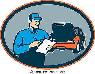 修理, 集合, 汽車, 裡面, 剪貼板, 技工, 汽車, oval.