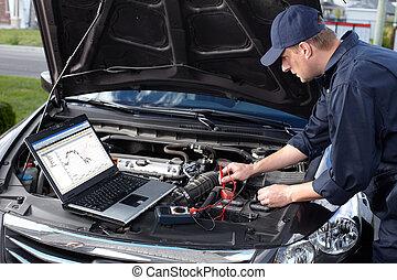 修理, service., 工作, 汽車技工, 汽車