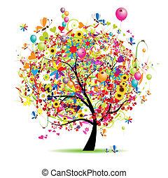 假期, 有趣, 愉快, 樹, 气球