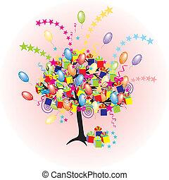假期, 黨, baloons, 事件, 卡通, 樹, 愉快, giftes, 箱子