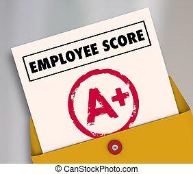 偉大, 回顧, 插圖, 雇員, 得分, 報告, 評估, 卡片, 3d