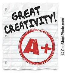 偉大, assi, 等級, 創造性, 寫, 紙, 加上, 報告, 家庭作業