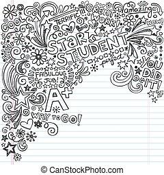偉大, doodles, 學生, 筆記本