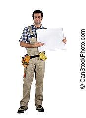 做廣告, 站, 木匠, 面板