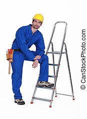 做零活的人, 梯子, 站, 偶然地