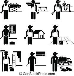 做零活的人, 熟練, 工作, 職業