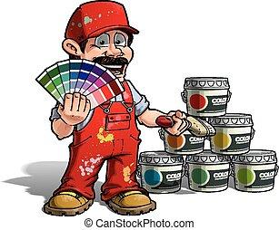 做零活的人, 顏色, -, 制服, 畫家, 採摘, 紅色