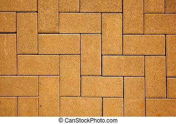 做, 塊, 混凝土, 顏色, 圖案, 黃色, 投, 人行道