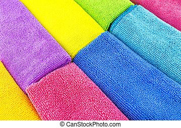 做, 材料, 堆積, 顏色, 邊, 邊, 頂部, 觀點。, 不同, 背景, microfiber