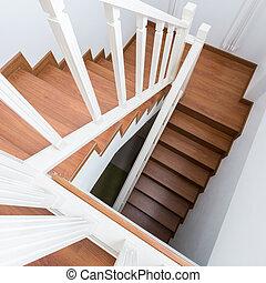 做, 樓梯, 木制, laminate, 現代, 木頭, 房子, 白色