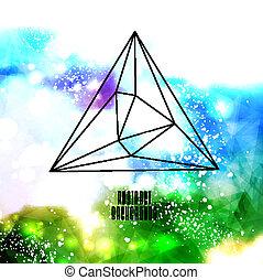 做, 行家, 三角形, 背景, 空間