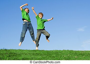 健康, 夏天, 跳躍, 孩子, 愉快