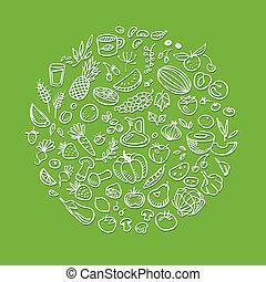 健康, 心不在焉地亂寫亂畫, 食物圖示