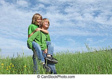 健康, 愉快, 孩子, 玩, 在戶外