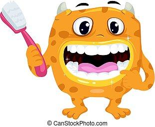 健康, 牙齒, 嘴, 怪物, 刷子