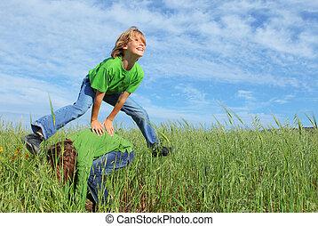 健康, 蛙跳, 孩子, 玩, 愉快