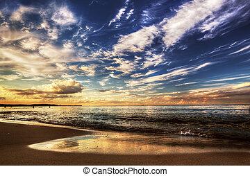 傍晚, 戲劇性的天空, 海洋, 在下面, 平靜