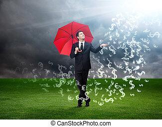 傘, 天空, 貨幣, 簽署, 落下, 紅色, 人
