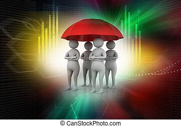 傘, 概念, 人們, 工作組, 在下面, 紅色, 3d