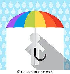 傘, 鮮艷, 雨, 紙, 矢量, 人