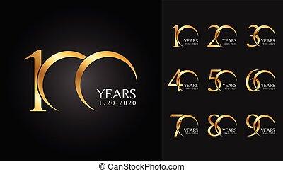傳單, 集合, 象征, card., 海報, badges., 公司, 雜志, 黃金, 週年紀念, 小冊子, 問候, 外形, 設計, 网, 邀請, 小冊子, 或者, 慶祝