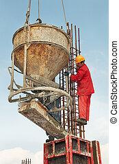 傾瀉, 工人, 建設, 形式, 混凝土