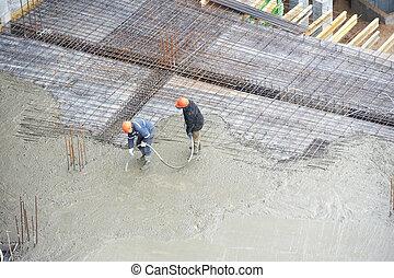 傾瀉, 建造者, 工作, 工人, 混凝土