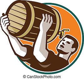 傾瀉, 調酒師, 小桶, 啤酒, retro, 喝酒, 桶