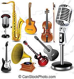 儀器, 矢量, 音樂
