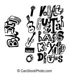 儀器, 結合, poster., 音樂