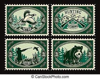 元素, 動物打獵, 郵票, 森林, 集合, 樣板