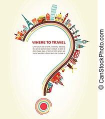 元素, 圖象, 旅遊業, 問號, 旅行, 那裡