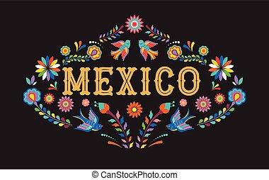 元素, 墨西哥人, 鮮艷, 墨西哥, 花, 背景, 旗幟, 鳥