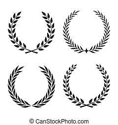 元素, 彙整, 矢量, laurels, 植物, 旗幟