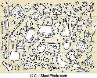 元素, 心不在焉地亂寫亂畫, 集合, 矢量, 設計