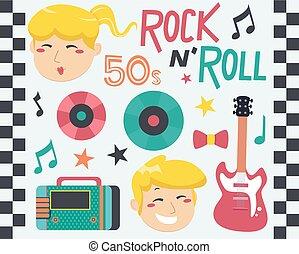 元素, 插圖, 音樂, 岩石, 設計, 捲